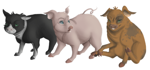 The Three Pigs of the Animal Farm by EbonyTails