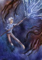 Jack Frost fights with Pitch Black by maru-redmore