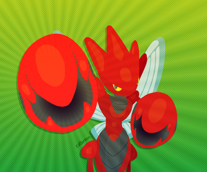 The Red Rush (Scizor Lineless) by Catbreon