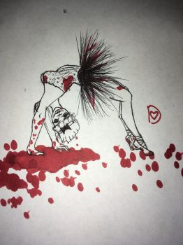 Inktober Day 4~ Dancing in Blood by DixieLuve