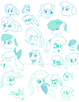 More Pony Sketches, no references by toadking07