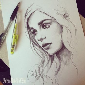 mother_of_dragons_sketch. by Lady2