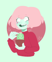 Cherryl with a little cactus  by derMilchstraBe