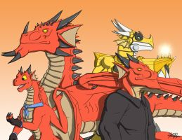 Four Dragonsonas by TargonRedDragon