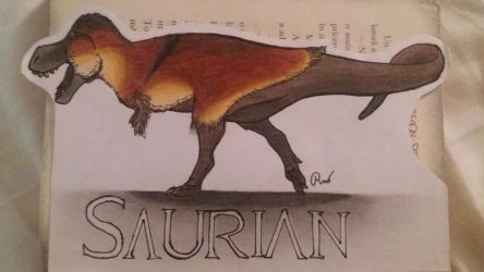 Saurian Tyrannosaurus Rex Book Sign by MareleLup