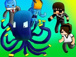 [Commission] Sky and Friends Chasing A Squid by ApplemintArts