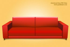 Red sofa PSD, interior icon by psdblast