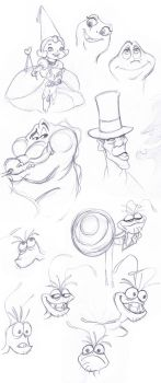 Princess and the Frog Sketches by wenuwishuponastar