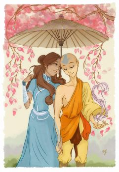 Aang and Katara from Avatar: The Last Airbender by yienyien