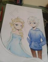 Elsa and Jack Frost WIP by Inve-san