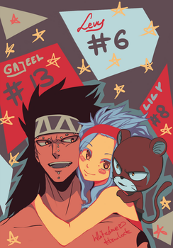 Gajeel, Levy and Lily by WhitedoveHemlock