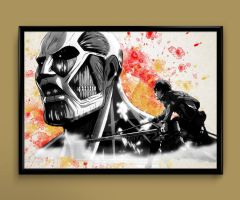 Eren Attack on Titan watercolor print by ColourInk