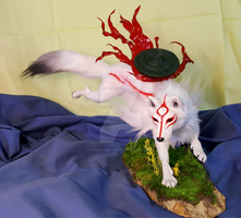 Okami Amaterasu OOAK Sculpture FOR SALE by FeralFacade