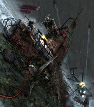 Winner Tomb RAIDER Cliff Shot Final Video game by Zero-Optix