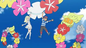 Ash and Lillie Rides on Comfey