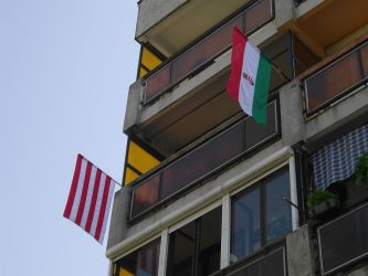 Two of the National Flag finally on the balcony 2 by Wakko2010