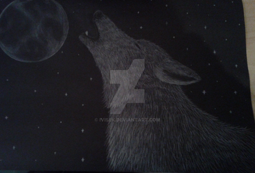 Wolf and moon by IVISEK