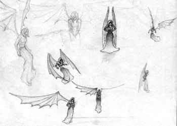 Vampire Angel wing sketches by BungZ