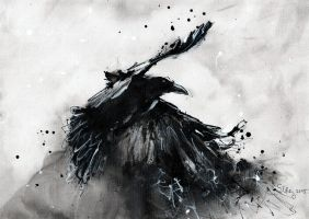 Abstract raven - black and white by DoodleWithGlueGun
