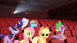 Mane 6 And Spike Watching A Movie by Mr-Kennedy92