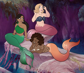 Celebrity Merms (Peter Pan background) by Sketchderps