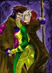 Rogue and Gambit Collab by asiandreajq