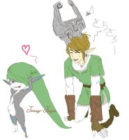 Link and Midna - Hat Fun SKETCH by JennyJinya