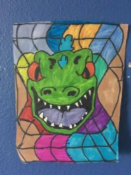 Reptar Rugrats Art Colorful Design Drawing  by NWeezyBlueStars23