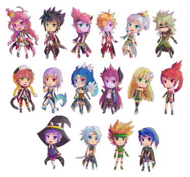 Grand Chase chibis by Ami-Magane