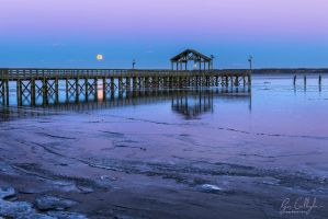 Blue Hour Supermoon Over Icy Waters by ryangallagherart
