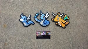 Dratini Family - Pokemon Perler Bead Sprites by MaddogsCreations