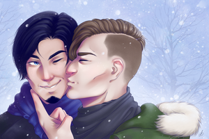 A kiss in the snow by ladysilvana