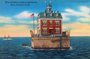 Vintage New England - New London Ledge Lighthouse by Yesterdays-Paper