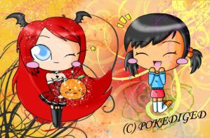 Brita and Chama in Chibi by pokediged