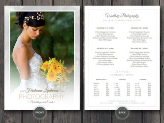 Wedding Photographer Price Guide Card PSD Template by CursiveQ-Designs