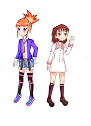 ruki and juri in eri and ai's clothes by yumethenekomata
