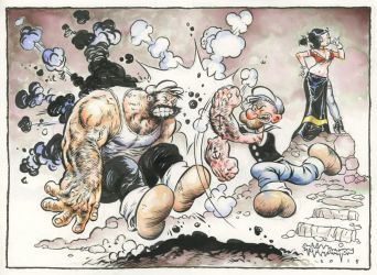Popeye punching Bluto by rattlesnapper