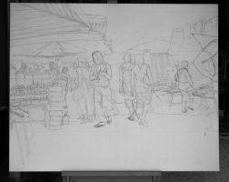 Market Streets - Sketch no #012 by tutanvaly