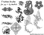 11 Tattoos Brushes - for psp by LaVolpeCimina