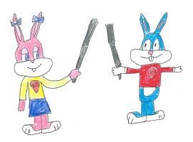 WK Babs Bunny and Buster Bunny - Lightsaber battle by dth1971