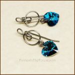 Sterling Silver and Blue Swarovski Heart Earrings by Gailavira