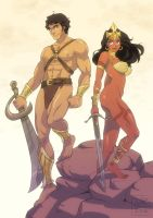 John Carter and Dejah Thoris by ElenoideArt