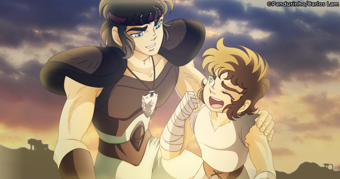 Saint Seiya - Aioria and Aioros by TheWolfMonster