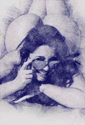 Drawing people with pen sketch effect 008 by Flavio170