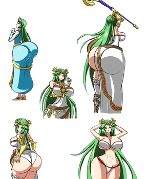Sexy Palutena Sketches by DivineBuns
