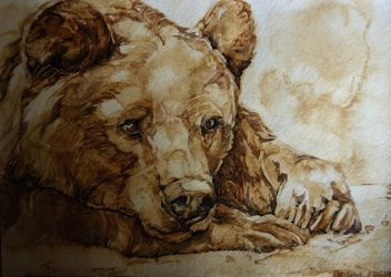 Dreamy bear, watercolor and coffee by LomovtsevaOlga