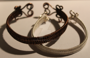 Silver and Copper Bangles by RiverGold
