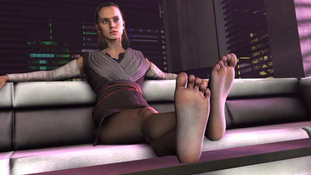 Rey's smelly feet (No smell effect) by shrunkenlover