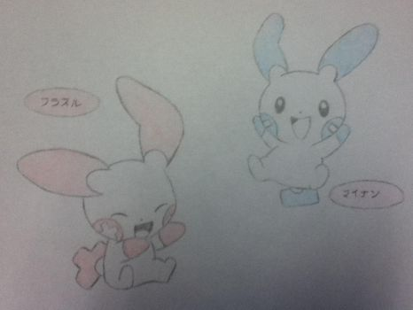 Plusle and Minun by Raven9899