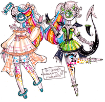 Xynthii MYO custom-Lisa Frank inspired twins by Guppie-Vibes